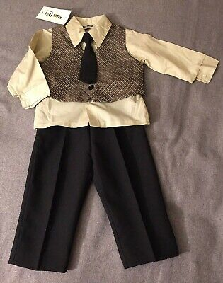 18 month HAPPY FELLA Button Down Ivory Shirt with Tie Brown Vest Black Pants Button Down Shirt With Suit
