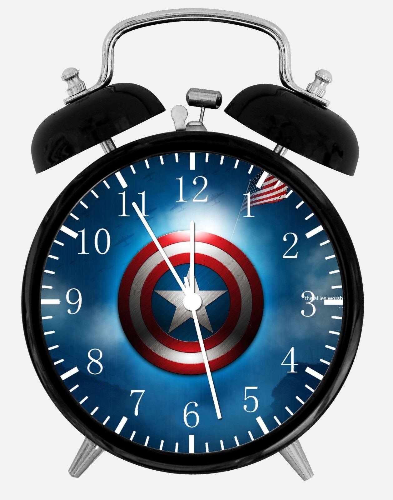 "Captain America Alarm Desk Clock 3.75"" Home or Office Decor W428 Nice For Gift"