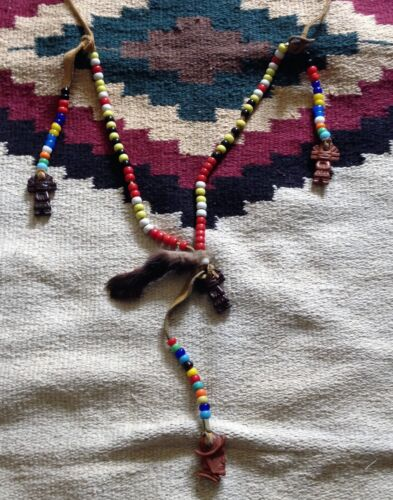 NATIVE AMERICAN 108 GLASS BEADS, SHELLS AND FOX CLAW SHAMAN RITUAL NECKLACE
