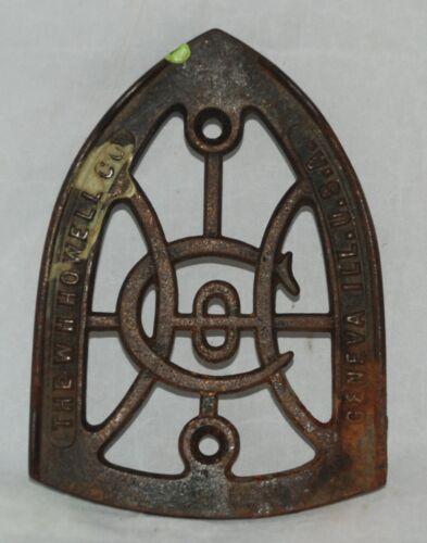 "Antique 1800s ""W H Howell Co Geneva Ill"" Cast Iron Sad Iron Trivet"