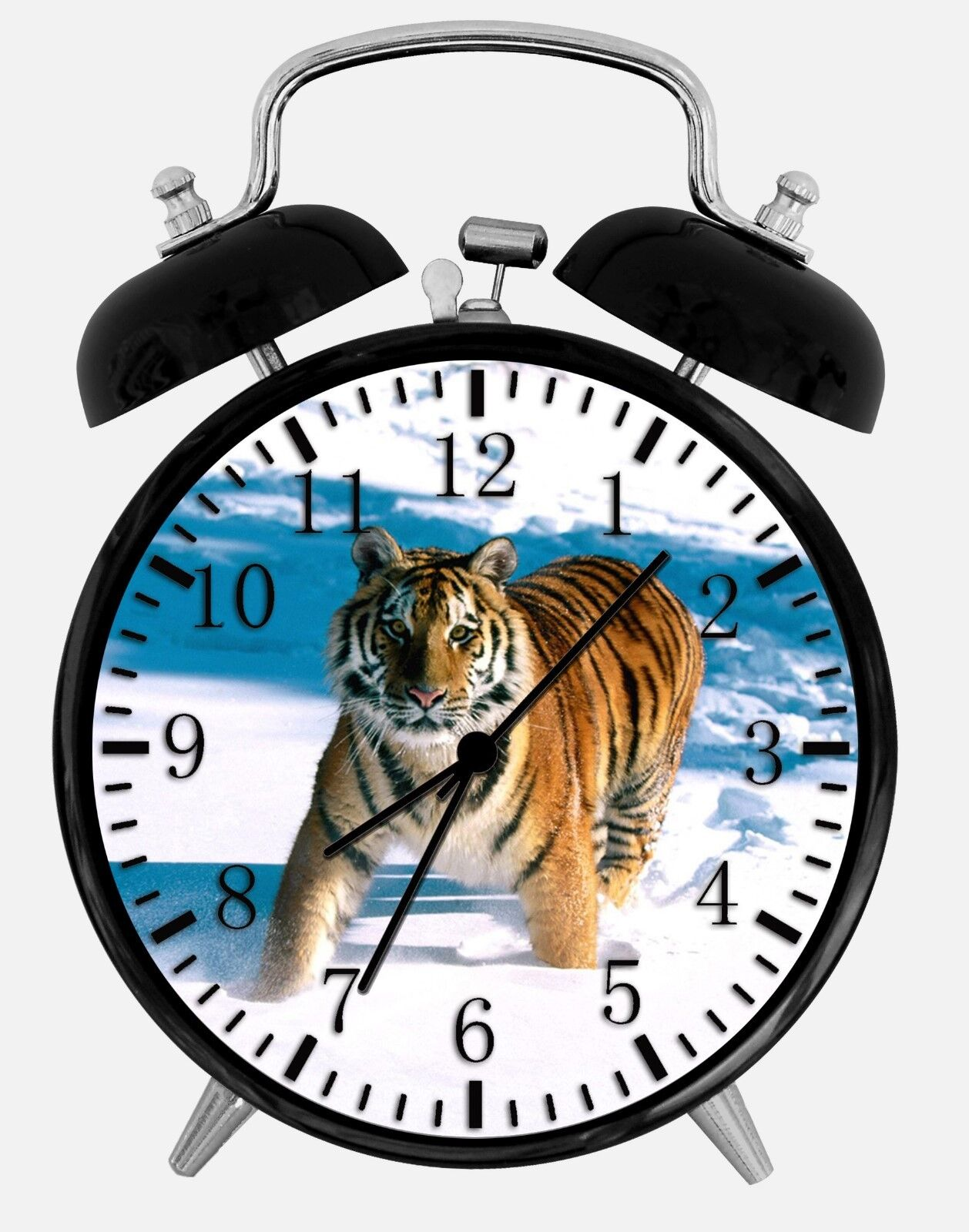 "Tiger in Snow Alarm Desk Clock 3.75"" Room Office Decor W12 Will Be a Nice Gift"