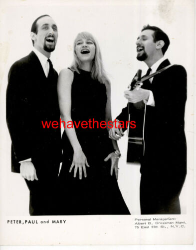 VINTAGE Peter, Paul And Mary 60s FOLK POP SINGING GROUP Publicity Portrait