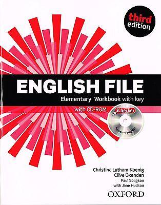 ENGLISH FILE Elementary Third Edition Workbook with Key & iChecker CD-ROM @NEW@