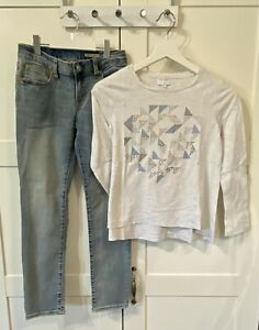 RALPH LAUREN Jeans and WITCHERY Top for Girls in Size 10. As New.