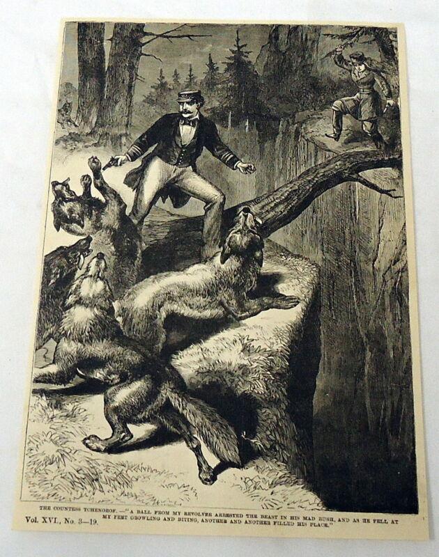 1883 magazine engraving ~ MAN FENDING OFF WOLVES