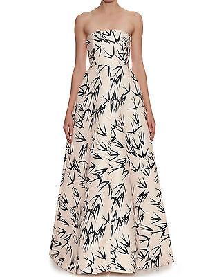 ROCHAS Pale Peach Bird Print Bustier Dress Gown  0  2