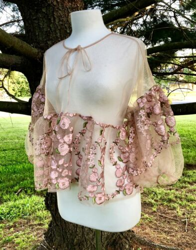 BHLDN Embroidered Cape Topper Sheer Net Tie Neck Swing Bottom Bell Sleeve S NEW