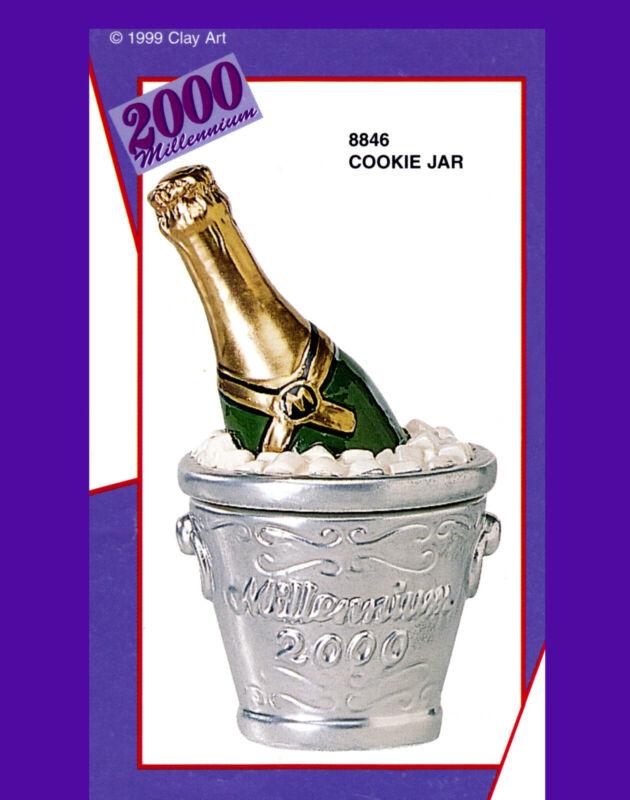 1999 Clay Art Cookie Jar - Millennium 2000 Champagne  Ceramic Cookie Jar NIB