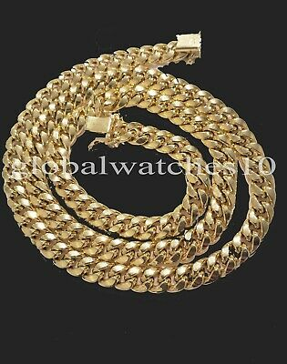 10k Gold Chain Mens Miami Royal Design Cuban Link Box Lock 7.1mm 22 inch Real