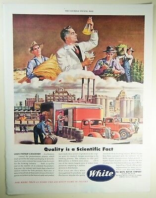 Vintage 1946 WHITE MOTOR COMPANY TRUCKS Large Magazine Print Ad: BREWERY