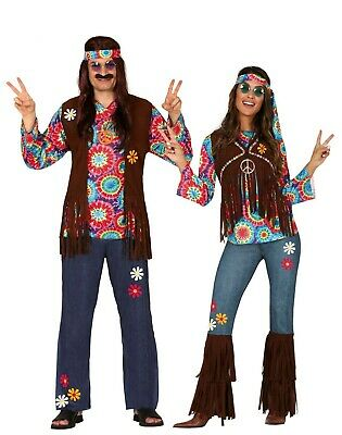 Erwachsene Hippie Kostüm Paar Herren Damen Verkleidung 60s 70s Outfit (Hippie Paar Kostüm)