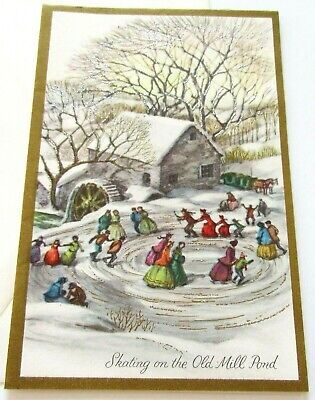 Vtg Christmas Card Skating on the Old Mill Pond Silver Gilt Trees Old Fashioned ()