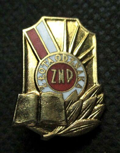 COLD WAR RELIC VINTAGE PIN OF POLAND - ZWIAZEK NAUCZYCIELSTWA POLSKIEGO (GOLD)