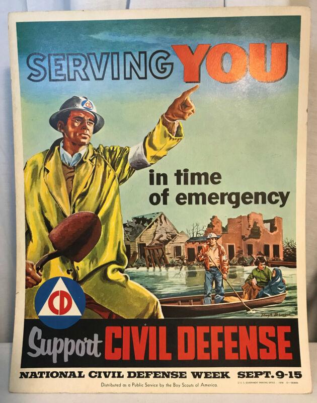 National Civil Defense Week Sept 1956 Boy Scouts of America Poster Hugh Brown