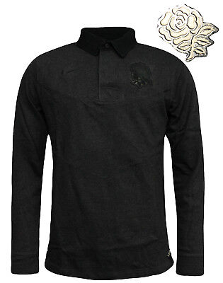 Nike England Rugby Long Sleeved Mens Polo Top Charcoal 454727 032 A