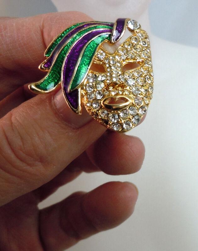 Rhinestone Mardi Gras Face Pin (AW.MGP1)