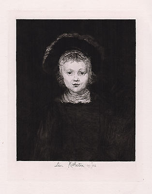 "Adorable 1800s REMBRANDT Etching ""William III as a Young Boy"" SIGNED Framed COA"