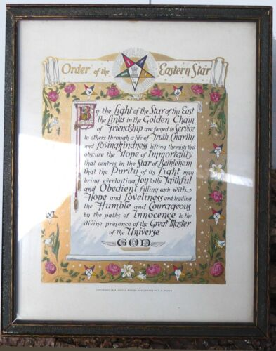 Vintage 1924 Order of the Eastern Star Framed Motto Credo Print by T.G. Mason