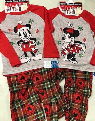 Disney 2 Piece Holiday Family Sleep Fleece Pajamas- Mickey or Minnie, Plaid