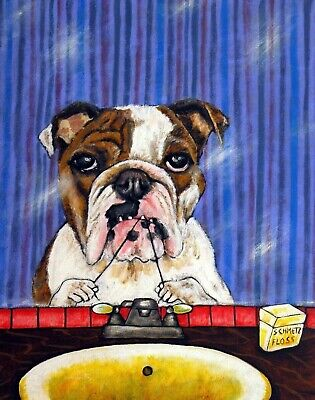 Bulldog dog bathroom 4x6  art PRINT glossy animals impressionism