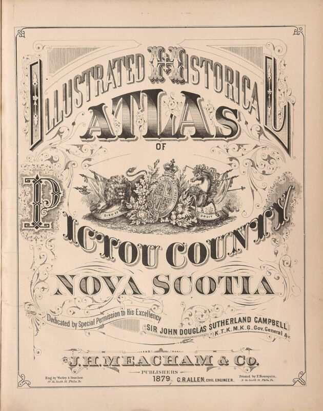 1879 Atlas PICTOU COUNTY NOVA SCOTIA plat maps old GENEALOGY LAND OWNERS DVD
