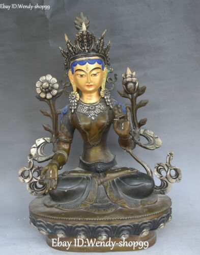 "19"" Old Chinese Bronze Silver Painting 7 eyes White Tara Buddha Flower Statue"