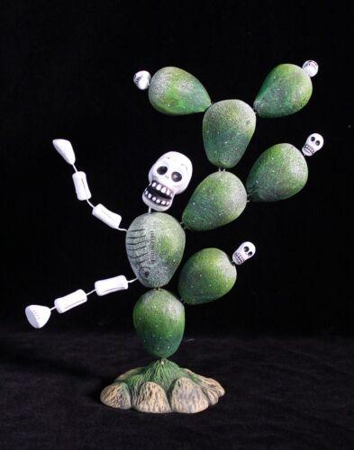 #1 Day of the Dead Cactus Man Skeleton Figure Mexican Folk Art Handmade Puebla