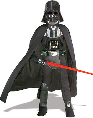 Boys Darth Vader Star Wars Fancy Dress Costume Outfit with Lightsaber Age 3-4