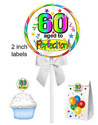 20 ~ 60th BIRTHDAY PARTY FAVORS STICKERS LABELS FOR lollipops goody bags ETC