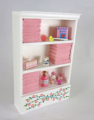 Closeout! Dollhouse Miniature Tall White Bathroom Filled Cabinet w/ Pink, SH0001