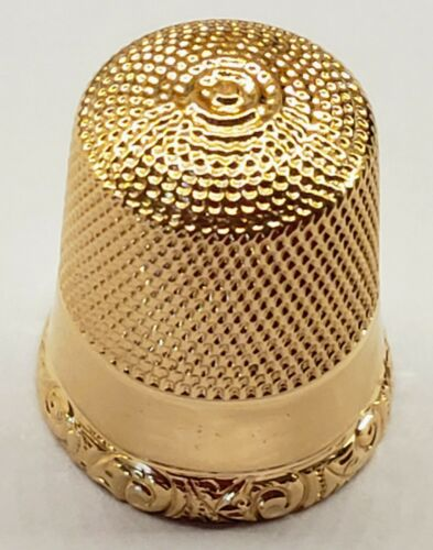 *ANTIQUE* VINTAGE *14K YELLOW GOLD * THIMBLE * SIZE 11 * SIMON BROS *
