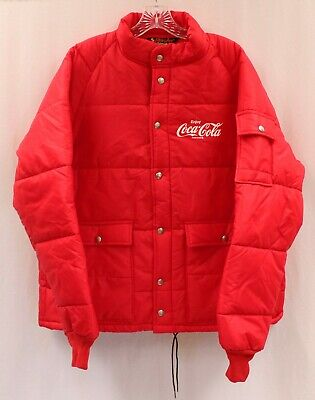 Vintage Coca Cola Coke Quilted Delivery Uniform Jacket in Red by Dun-Jac Sz L