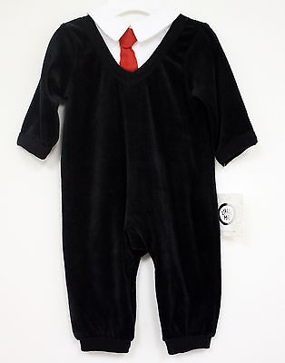 Little Me Outfit Black Velour with White Collar Red Tie coverall New Infant ()