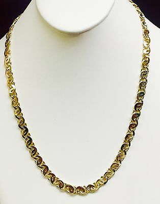 10k Solid Yellow Gold Tiger Eye Design Link Mens Chain/Necklace 18