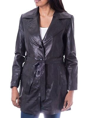 Ladies Black Classic 3/4 Length Leather Fitted Trench Coat With Belt Tie & Vent