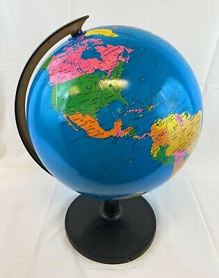"""12"""" Stand Rotating World Globe Map Kid School Student Geography Educational"""
