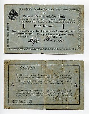 1 Rupie DOA 1.9.1915  Serie A  stärker gebraucht  Ros.914a