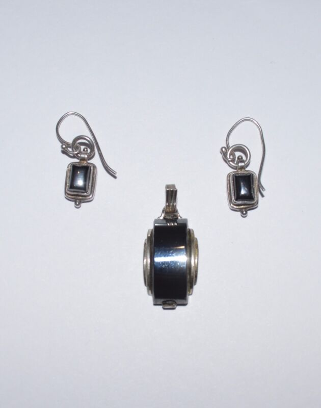 VINTAGE STERLING SILVER AND HEMATITE SET EARRINGS AND PENDANT