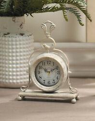 shabby white vintage style bird statue desk table mantel pendulum ANALOG CLOCK