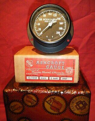 Nos Vintage C. 1950 Ashcroft 2 12 Brass Gauge 200 Cooler Pressure Sealed Box