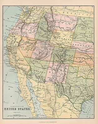 1900 Ca ANTIQUE MAP UNITED STATES WESTERN DIVISION