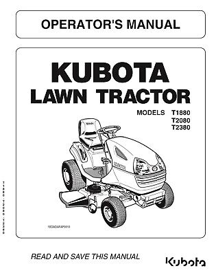 Kubota Tractor T1880 T2080 T2380 Operators Maintenance Instruction Manual