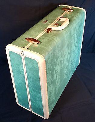Vtg Samsonite Hard Case Suitcase Marbled Green Shwayder Bros. Mid Century