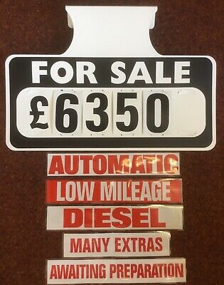 5 X FOR SALE VISOR PRICE SETS, CAR, VEHICLE SALE SIGNS, BOARDS, 5 FREE STICKERS