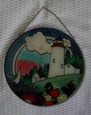 (Joan Baker Designs Art Glass Suncatcher - Lighthouse - 6-1/2 inch diameter)