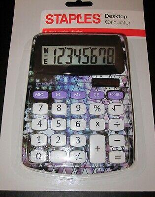 STAPLES Desktop Calculator 8 Digit Solar Battery Geometric Galaxy Purple Tie Dye