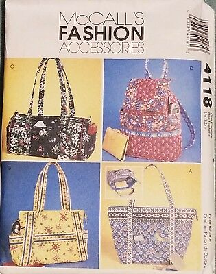 McCalls Pattern 4188 Misses' Quilted Handbags 4 Styles FREE - Free Sewing Patterns Handbags