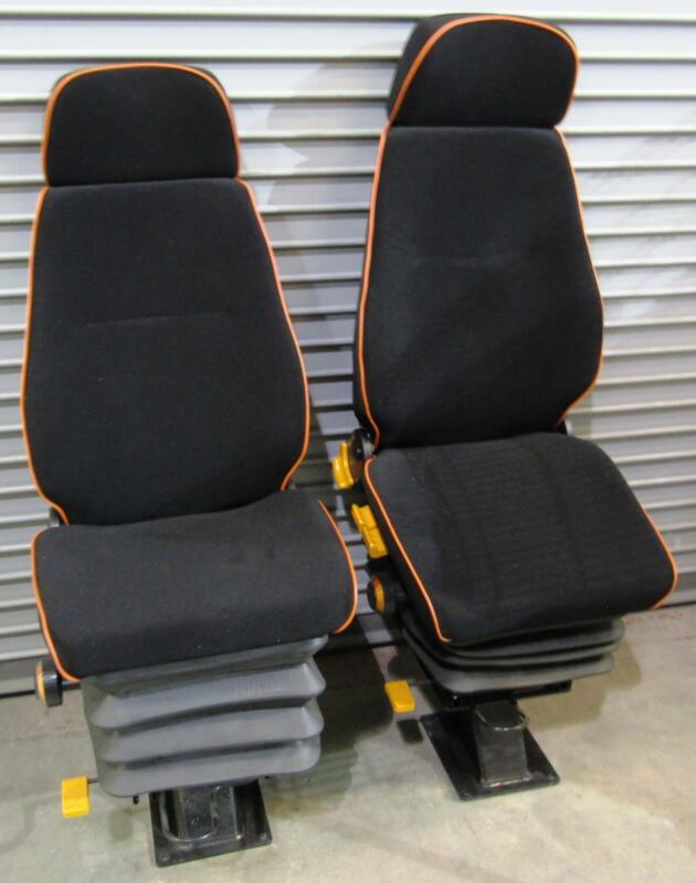 2x New ISRINGHAUSEN Black Upholstered Adjustable Driver Suspension Seat Headrest