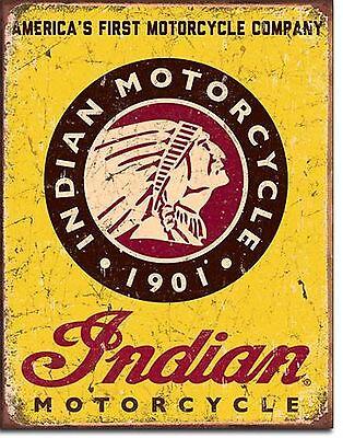 Reklame Blechschild Indian Motorcycles Vintage Motorrad Werkstatt Neu 40 x 30 cm
