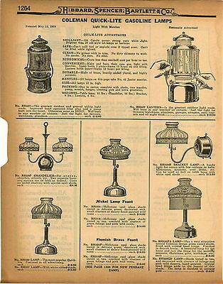 Coleman quick lite lampebay 1 1926 paper ad 3 pg coleman quick lite gas gasoline lamp lamps repair parts list mozeypictures Images
